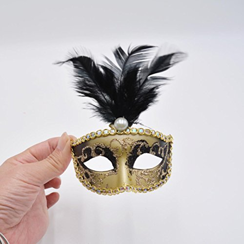 Miniature Mini Masquerade Mask Party Decorations - Black & Gold with Feathers