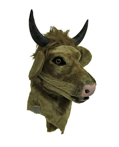 Zeckos Brown Cow Moving Mouth Faux Fur Adult Horned Bull Mask