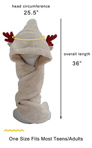 Novelty Reindeer hat scarf and mitten head wear - Grey Christmas Winter Hat for adults and children