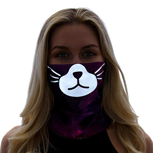 GloFX Reflective Face Mask - Cat - Rave Festival Dust Seamless Facemask Bandana