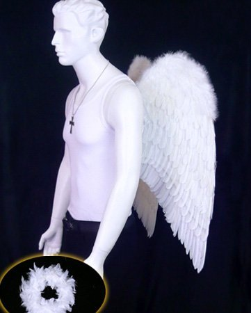 Fabulous Mens White Angel Costume Feather Wings - Perfect for Pride & Burning Man