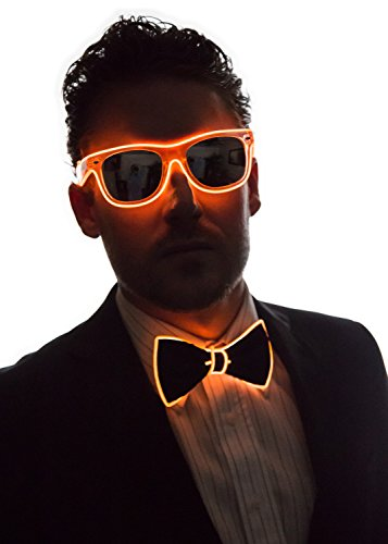 Smart LED Neon Light Up Bow Tie for Raves Dance Dinner Parties and Festivals - Orange