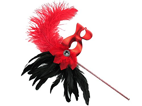 Missy Red Women's Masquerade Mask on a Stick