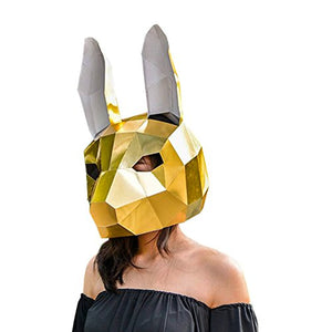 Modern Paper Art Rabbit Mask -  Gold for Adult