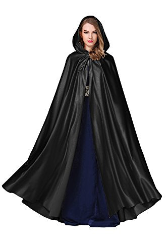 Black Hooded Cloak Long Renaissance Luxury Witch Cape
