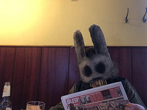 Creepy Bunny Mask - Scary Burlap Rabbit Mask - Halloween Horror Prop - Masquerade Disguise - Party Animals Masks