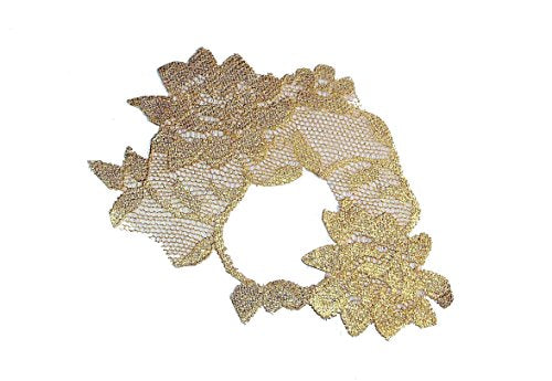 Adhesive Metallic Gold Leaf Lace Masquerade Mask