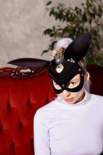 Bunny mask - woman leather mask bunny - Cosplay bunny face mask - Halloween masquerade mask of bunny