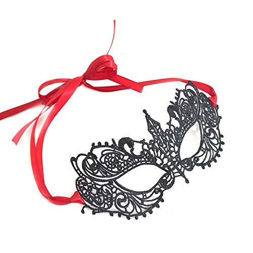 Black & Red Goddess Lace Mask