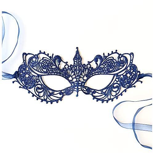 Navy Blue Goddess Lace Masquerade Mask