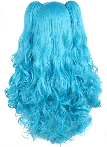 MapofBeauty Lolita Long Curly Clip on Ponytails Cosplay Wig (Azure Blue)