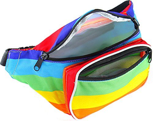 bright rainbow striped Retro bum bag Fanny waist Pack perfect summer festival accessory - rainbow