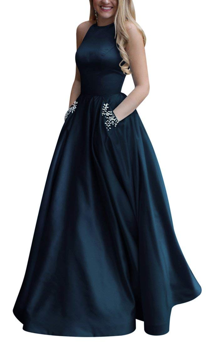 Masquerade Dress Long Beaded Halter Satin Prom Dress A Line Open Back Evening Gowns