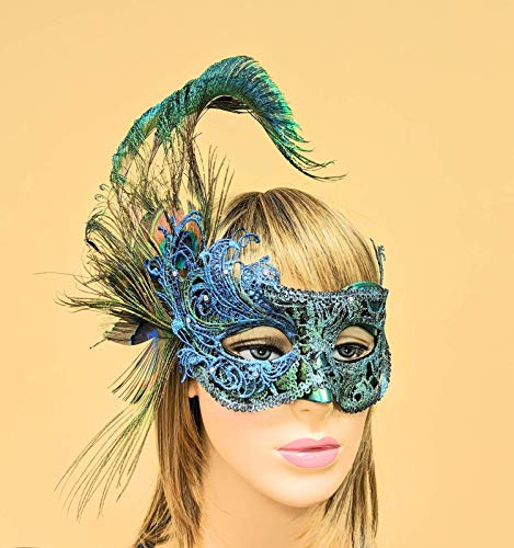 Sari Indo Teal Green Lace Masquerade Mask for Women