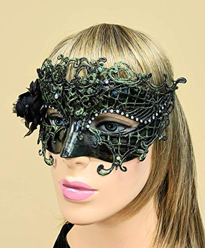 Sage Black Rose Lace Mask for Women