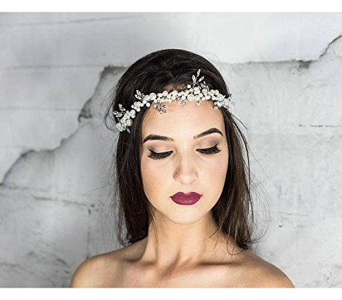 Pearl Bridal Headband, Wedding Halo Headpiece, Beach Hair Vine wreath,