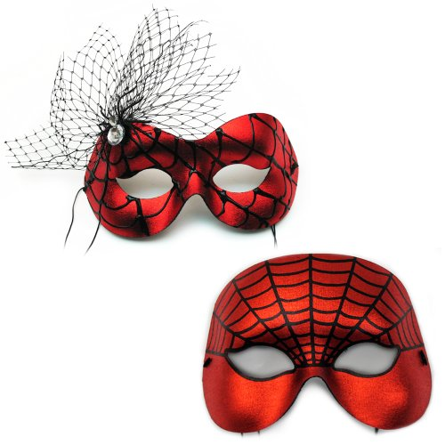 Entangled-Spiderweb Red Masquerade Masks for a Couple