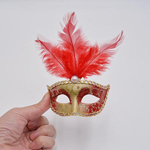 Miniature Masquerade Mask Party Decorations - Gold Red with Feathers