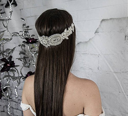 Bridal Forehead Band, Wedding Pearl Headpiece, Boho Hair Jewelry, Chain Halo, Women's Hair Accessories, Vintage Hair Piece