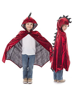 Childrens Long Hooded Dragon Cloak Cape Costume for Parties Dress Up and Festivals - Red