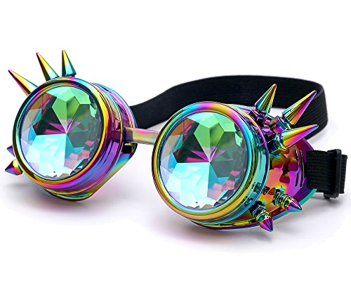 Steampunk Glasses Rave Glasses Goggles for Festival and Dance Parties - Rainbow Crystal Lenses