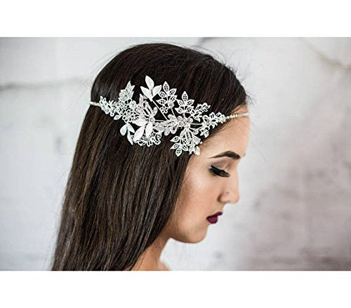 Forehead Bridal Headband, Wedding Head chain, floral halo, hair comb, vintage hair accessories, halo for the bride