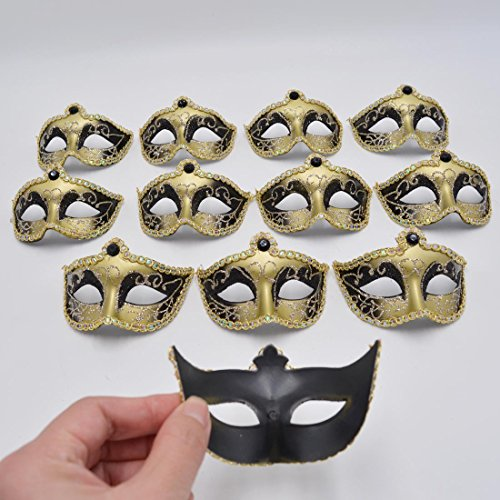 Miniature Masquerade venetian Mask Party Decorations - Black & Gold