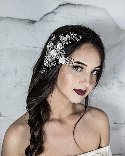 Bridal Hair Comb, Silver Floral Headpiece, Wedding Hairpiece, Hair Jewelry with petals, leaves, Prom hair accessories, Vine