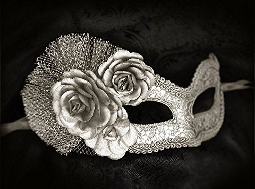 Metallic Silver Masquerade Mask With Fabric Roses