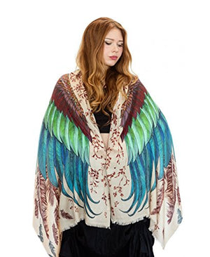 Tribal Festival Bird Scarf Shawl - Pure Cotton Hand Painted Feathered Wings - Exotic Colours