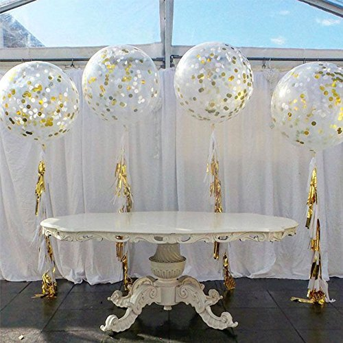 "36"" Gorgeous Gold Tissue Paper Tassels Confetti Balloons Pack of 2 (clear)"