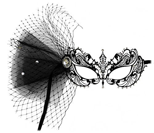 Nicole Laser-Cut Metal Black Venetian Decorated Masquerade Mask