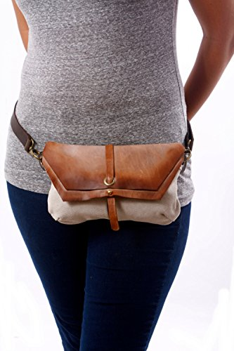 Handmade Hip boho Bag, Fanny Pack Utility Hip Belt great festival accessory - canvas and Faded distressed Leather - brown