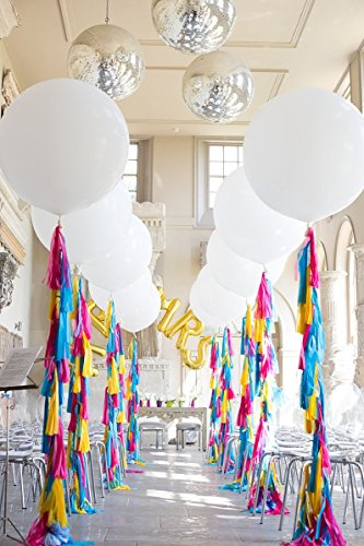 Giant White Balloons with Rainbow Tassel Tail Garland - Perfect Bunting Party Decorations