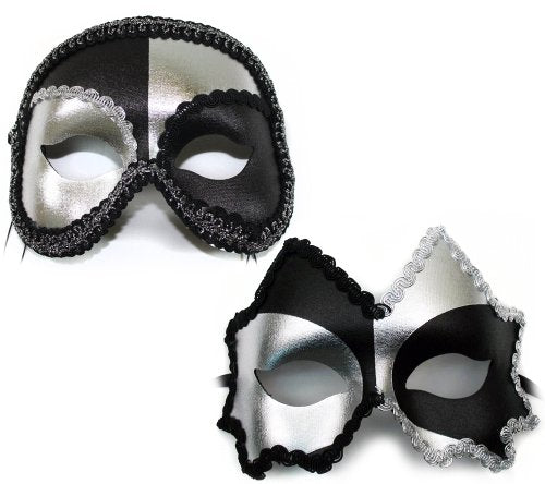 Jagged-Antonio Black-Silver Masquerade Masks for a Couple