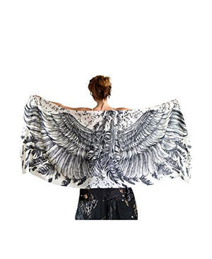 Tribal Festival Bird Scarf Shawl - Pure Cotton Hand Painted Feathered Wings - White