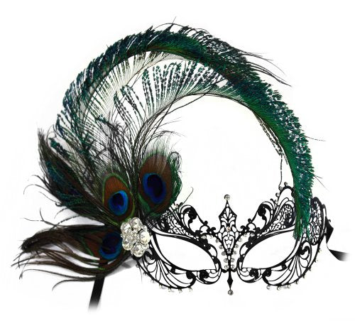 Corrine Laser-Cut Metal Black Venetian Women's Masquerade Mask w/Side Peacock