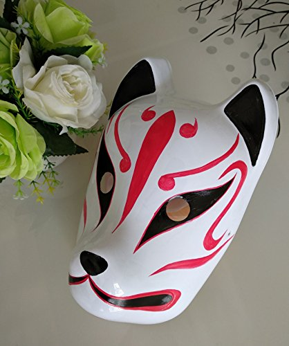 JCvCX Hand Paint Full Face Japan Import Fox Mask Carnival Dress Ball Costume Props