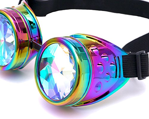 Steampunk Rave Glasses Goggles with adjustable straps Festival and Dance Party accessory - Rainbow Glass Lens
