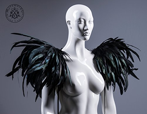 Huge black feather shoulder piece /Feather epaulet shrug / Feather harness with pointy shoulders / Edgy fashion shrug / Burning man / Ryuk
