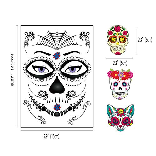 32 Sheets (Two Different Styles, Including 8 Large Sheets Halloween Temporary Face Tattoos) Day of the Dead Face Sugar Skull Tattoos,Halloween Sugar Skull Temporary Face Tattoos for Men and Women