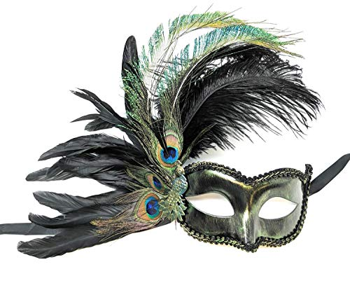 Grand Peacock Masquerade Mask for Women Black Teal