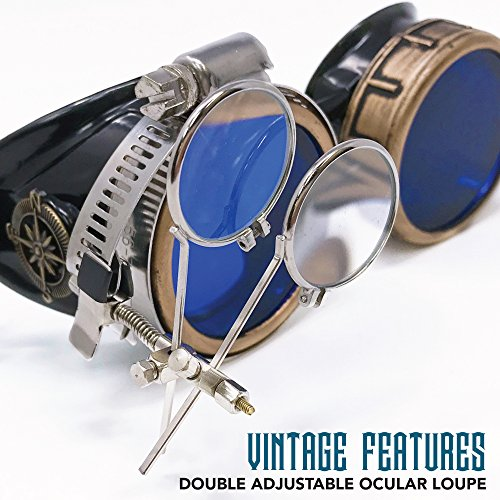 umbrellalaboratory Steampunk Victorian Style Goggles with Compass Design and Azure Blue Lenses, by