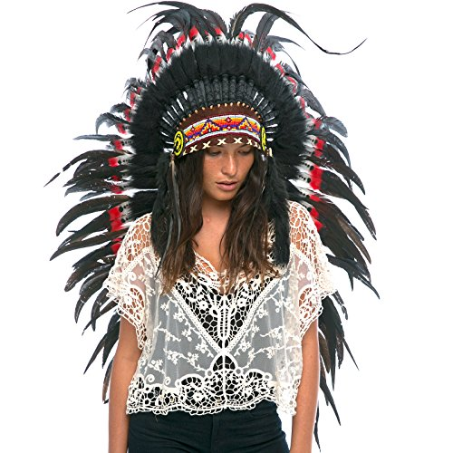 Long Feather Headdress- Native American Indian Inspired Real Feathers