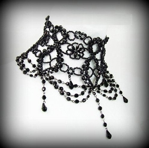 Black Bead Burlesque Choker Necklace - Gothic Vampy Chic