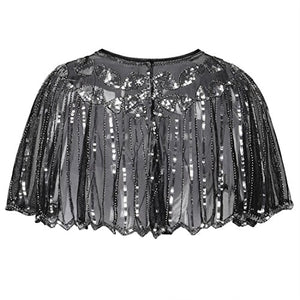 Exquisite Sequin and Bead Embellished 1920s Deco Shawl - Flapper Bolero Cape - Black/Silver