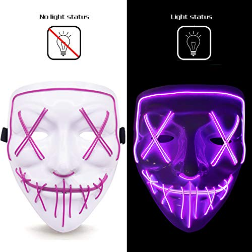 FuturePlusX Halloween Led Mask, Glow Scary LED Mask Cosplay Light up Mask White