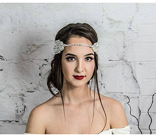 Bridal Hair Comb, White Pearl Headpiece, Silver Headband, Hair Jewelry, Head Chain, Prom hair accessories