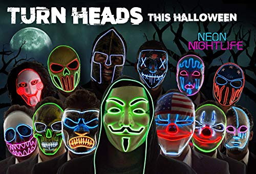 Neon Nightlife Light Up Scary Skeleton Skull Death Halloween LED Grim Reaper Costume Mask, White & Red
