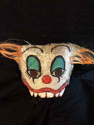 Scary Halloween clown mask burlap scarecrow sack face - handmade